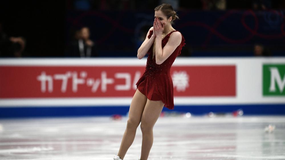 Weiß selbst, dass ihr ein überragender Auftritt gelungen ist: Carolina Kostner. © APA/afp / MARCO BERTORELLO