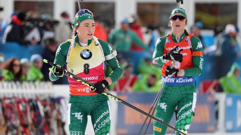Dorothea Wierer und Lisa Vittozzi duellieren sich um den Gesamtweltcup. © ANSA / ANDREA SOLERO