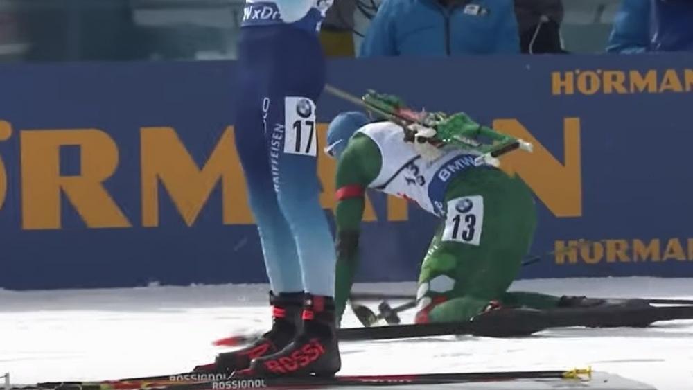 Lukas Hofer leistet sich einen Ausrutscher.