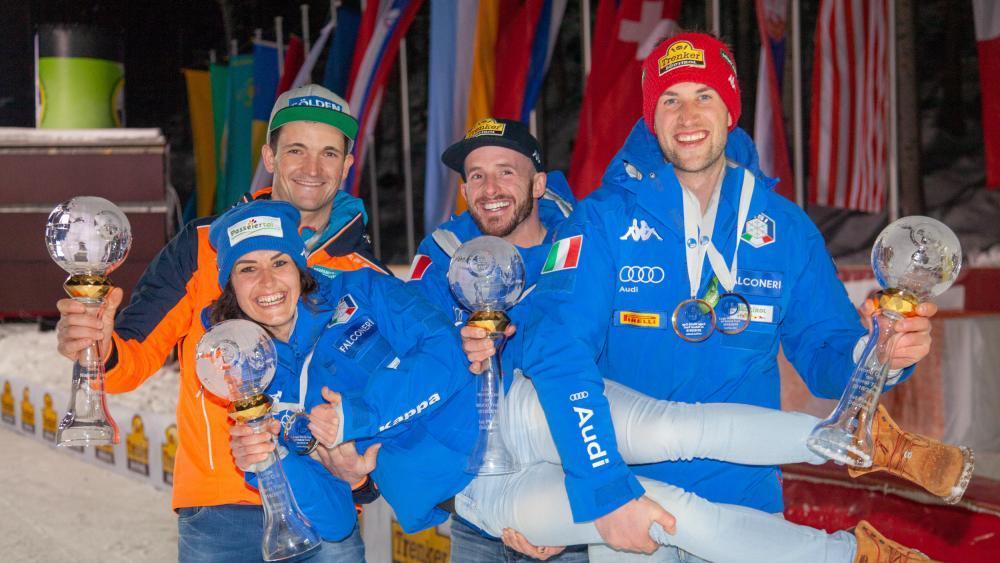 Die Gesamtsieger 2018/19: Thomas Kammerlander, Evelin Lanthaler, Florian Clara und Patrick Pigneter © Chris Walch