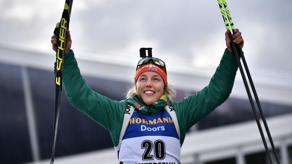 Laura Dahlmeier hat überraschend ihre Karriere beendet. © AFP / MARCO BERTORELLO