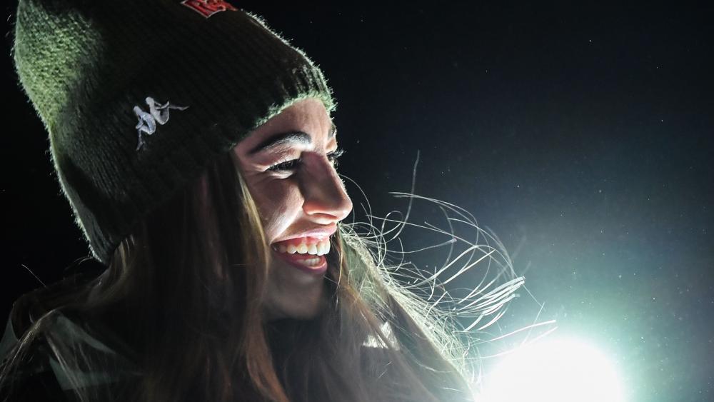 Dorothea Wierer ist die Freude in das Gesicht geschrieben: Die Rasnerin ist der Superstar der WM in Antholz. © APA/afp / TIZIANA FABI