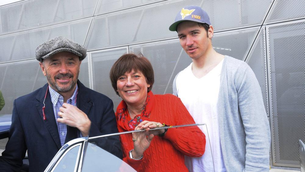 Christian Neureuther, Rosi Mittermaier und Felix Neureuther (von links): Eine berühmte Skifahrer-Familie. © Archiv
