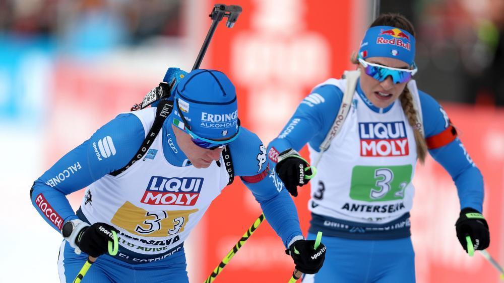 Lukas Hofer (links) und Dorothea Wierer starten am Wochenende in den neuen Biathlon-Winter. © ANSA / ANDREA SOLERO